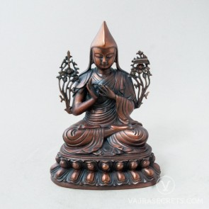 Lama Tsongkhapa Brass Statue with Oxidised Finish, 8 inches