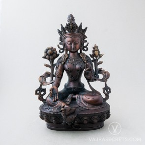 Green Tara Brass Statue with Oxidised Finish, 12 inches