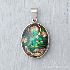 Green Tara Glass Dome Pendant