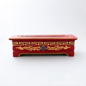 Tibetan Wooden Incense Burner with Blue & Gold Floral Motif (Medium)