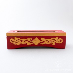 Tibetan Wooden Incense Burner with Gold Floral Motif (Small)