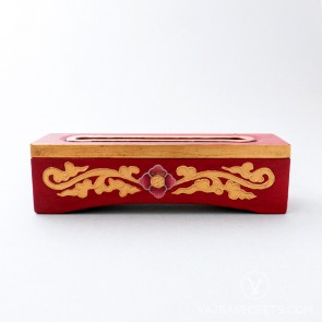 Tibetan Wooden Incense Burner with Red & Gold Floral Motif (Small)