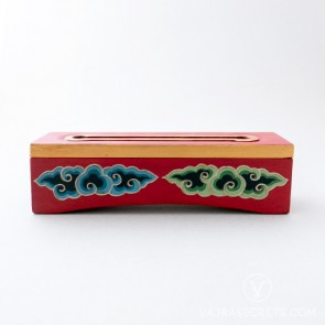 Tibetan Wooden Incense Burner with Cloud Motif (Small)