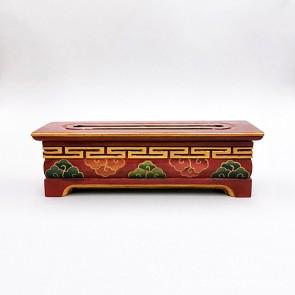 Tibetan Wooden Incense Burner with Pink & Green Cloud Motif (Medium)