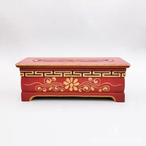 Tibetan Wooden Incense Burner with Gold Floral Motif (Large)