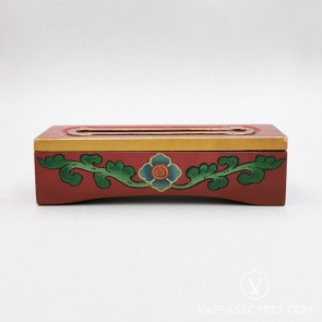 Tibetan Wooden Incense Burner with Blue & Green Floral Motif (Small)