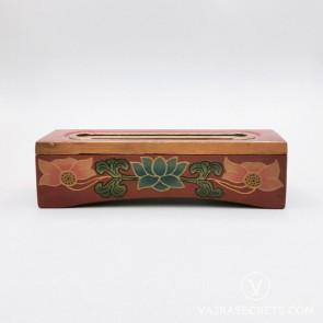 Tibetan Wooden Incense Burner with Blue & Pink Lotus Motif (Small)