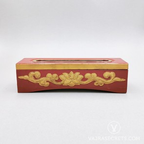 Tibetan Wooden Incense Burner with Gold Lotus Motif (Small)