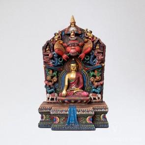 Shakyamuni Colourful Wooden Statue, 14 inches