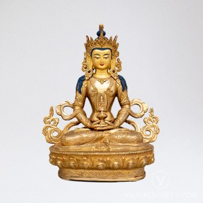 Amitayus Gold Statue, 9 inches