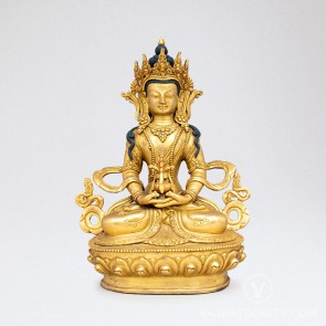 Amitayus Gold Statue, 8 inches