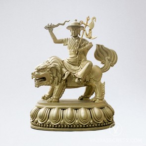 Dorje Shugden Brass Statue with Gold Finish, 7 inches
