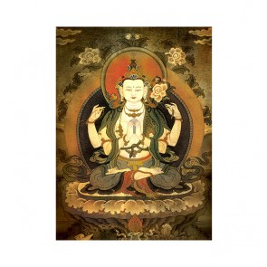 Chenrezig (4-armed) Thangka (Vintage Effect)
