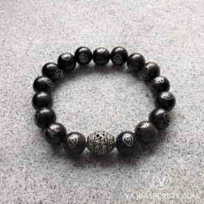 Blessed 12mm Black Sandalwood Mala Bracelet with Silver Motifs