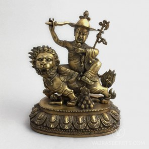 Dorje Shugden Brass Statue with Gold Finish, 8 inches