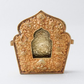 Traditional Tibetan Gau Prayer Box, Gold (Large)