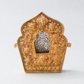 Traditional Tibetan Gau Prayer Box, Gold (Small)