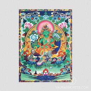 Green Tara Thangka with Brocade Border