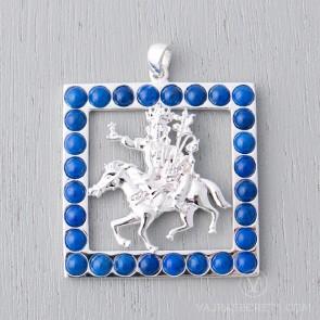 Gyenze Square Pendant with Lapis Lazuli