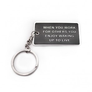 """Work For Others"" Blog Keychain"
