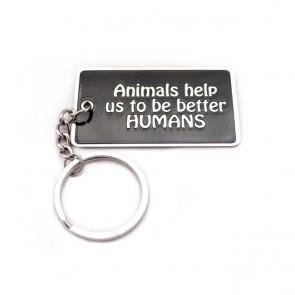 """Animals Make Us Better Humans"" Blog Keychain"