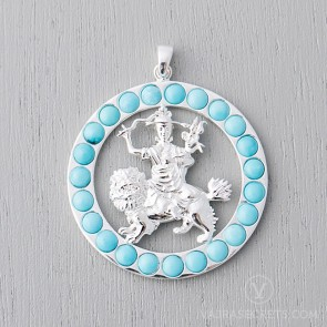 Dorje Shugden Round Pendant with Turquoise