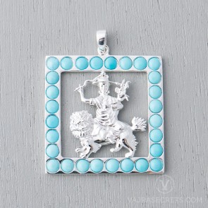 Dorje Shugden Square Pendant with Turquoise