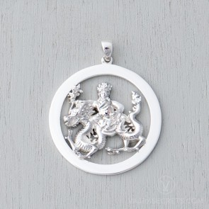 Wangze White Gold Plated Round Pendant