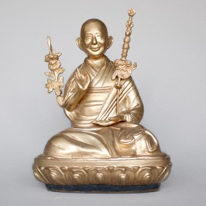 H.H. Trijang Rinpoche Brass Statue, 10 Inches