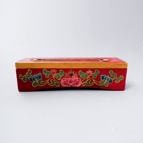 Tibetan Wooden Incense Burner with Lotus Motif (Small)