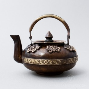 Brass Low Profile Teapot with Antique Finish, 3 inches