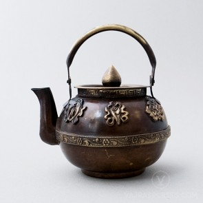 Brass Round Teapot with Antique Finish, 4.5 inches