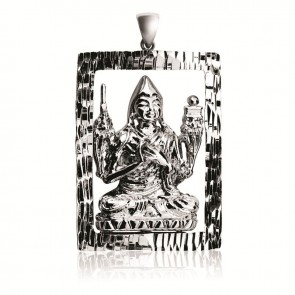Lama Tsongkhapa 3D Emptiness Rectangular Diamond Cut Pendant (Junior)