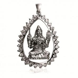 Lama Tsongkhapa Teardrop Pendant with Cubic Zirconia