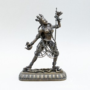 Vajrayogini Brass Statue with Oxidised Finish, 7 inches