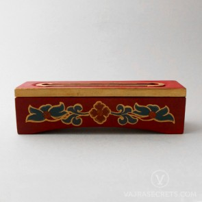Tibetan Wooden Incense Burner with Floral Motif (Small)