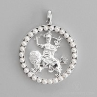 Dorje Shugden Round Pendant with Pearls