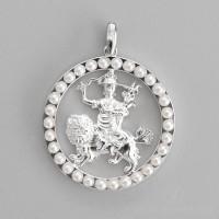 Dorje Shugden Round Pendant with Pearls