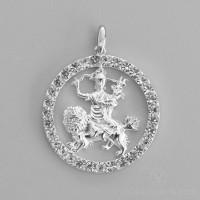 Dorje Shugden Round Pendant with Swarovski Crystals