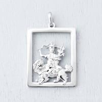 Dorje Shugden Rectangular Stainless Steel Pendant