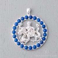 Wangze Round Pendant with Lapis Lazuli