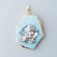 Trakze Pendant with Gold Trimmed Turquoise Slice