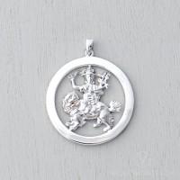 Dorje Shugden White Gold Plated Round Pendant