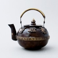 Brass Round Teapot with Antique Finish, 4 inches