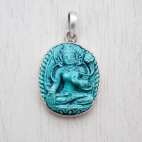 Blessed White Tara Turquoise Pendant (Junior)